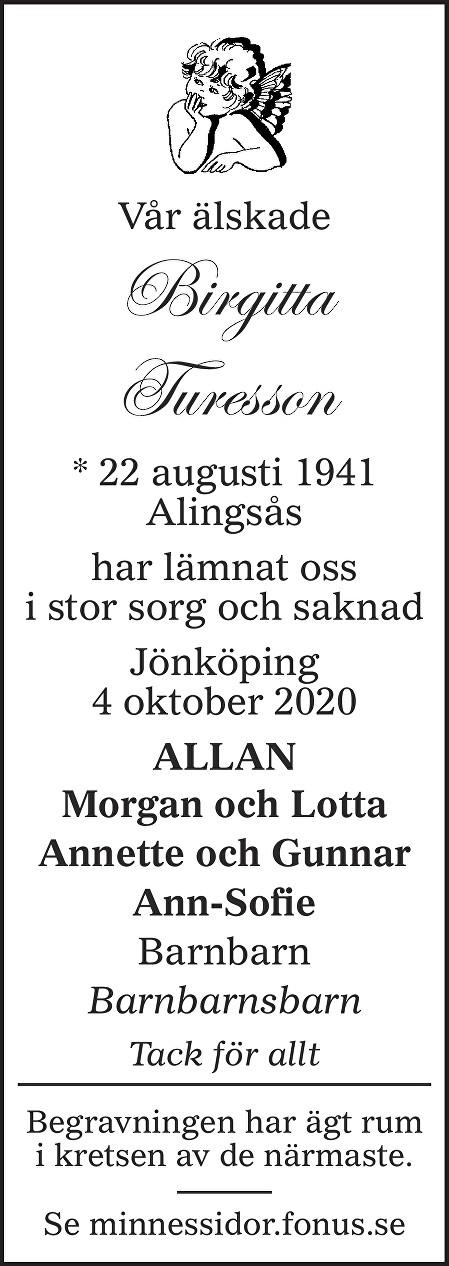 Birgitta Turesson Death notice