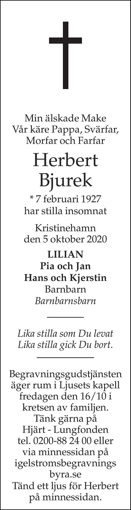 Herbert Bjurek Death notice