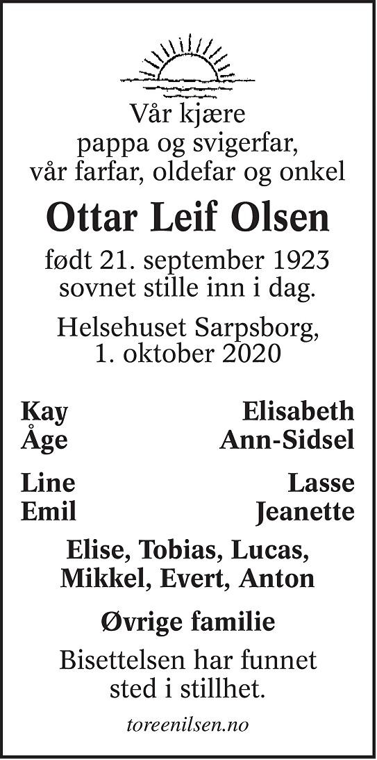 Ottar Leif Olsen Dødsannonse