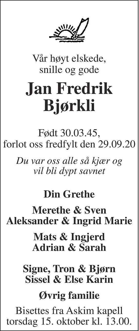 Jan Fredrik Bjørkli Dødsannonse