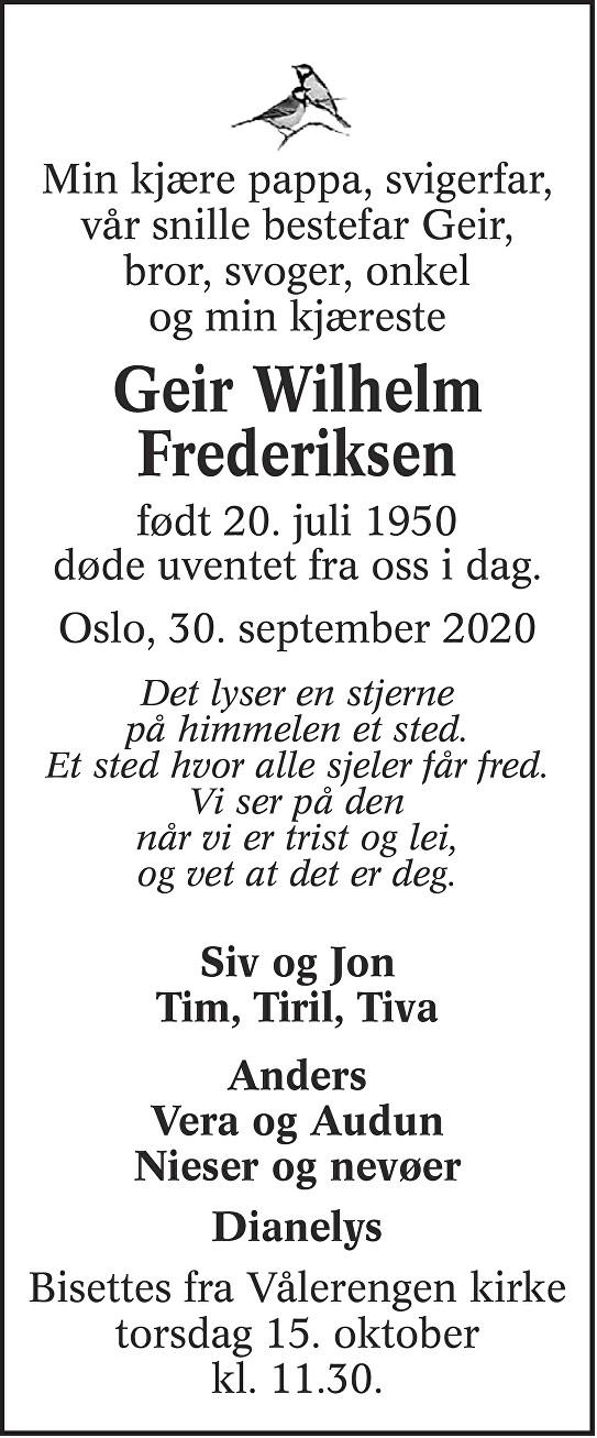 Geir Wilhelm Frederiksen Dødsannonse