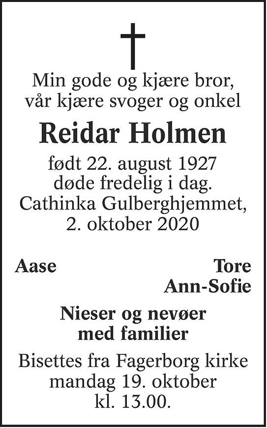 Reidar Holmen Dødsannonse
