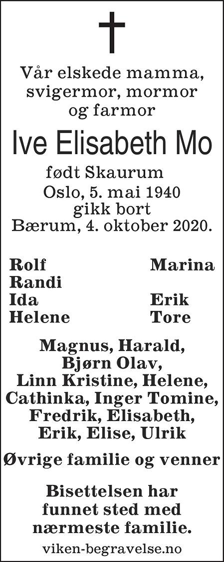 Ive Elisabeth Mo Dødsannonse