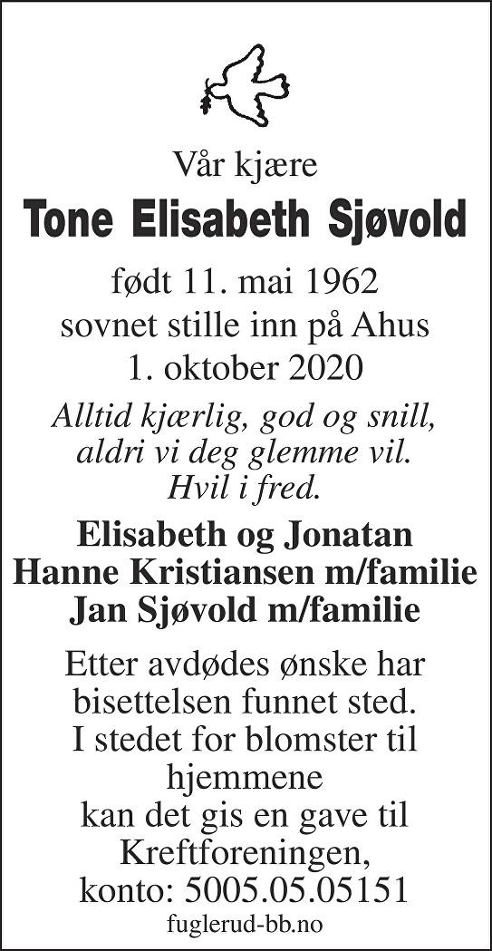 Tone Elisabeth Sjøvold Dødsannonse