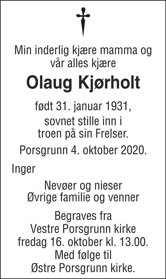 Olaug Kjørholt Dødsannonse