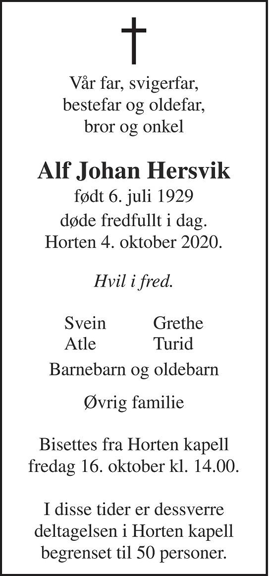 Alf Johan Hersvik Dødsannonse