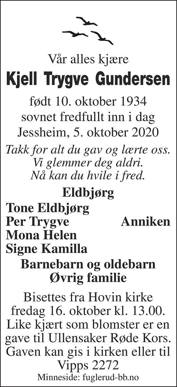 Kjell Trygve Gundersen Dødsannonse