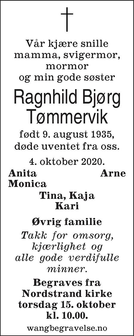 Ragnhild Bjørg Tømmervik Dødsannonse