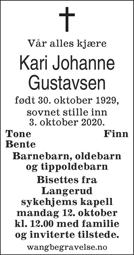 Kari Johanne Gustavsen Dødsannonse