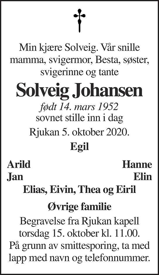 Solveig Johansen Dødsannonse