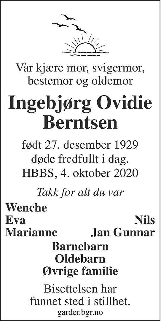 Ingebjørg Ovidia Berntsen Dødsannonse