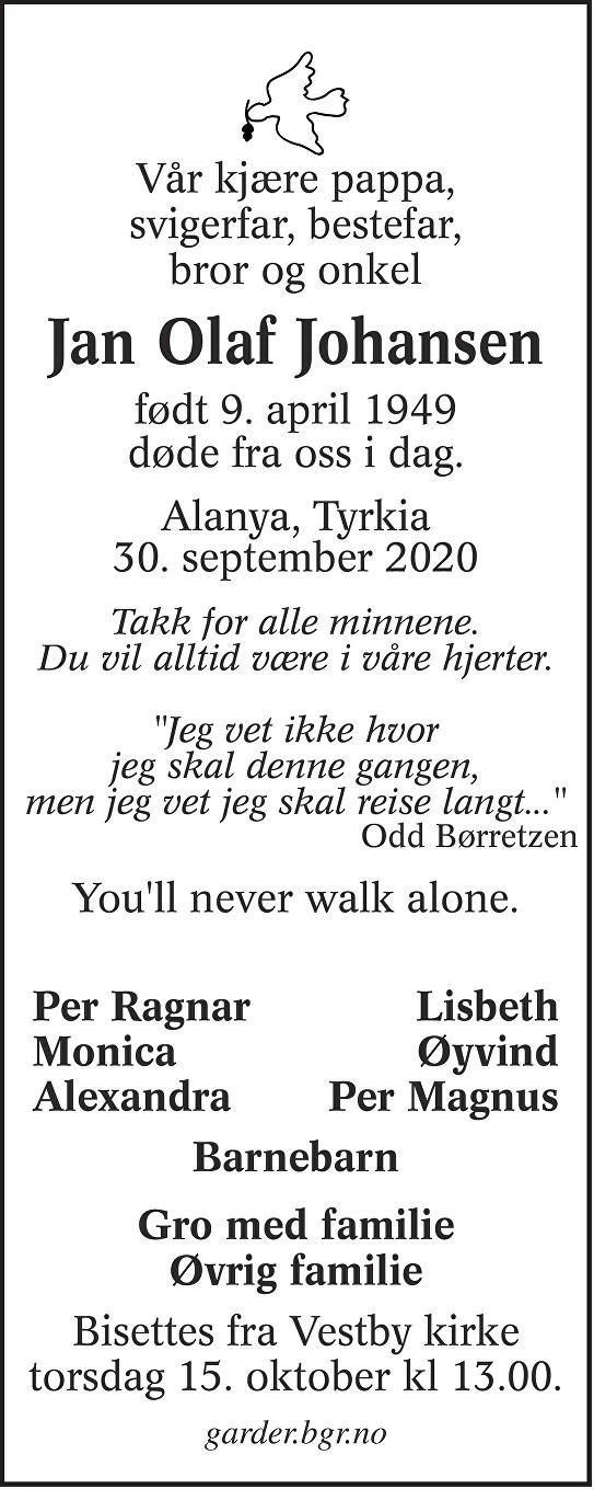 Jan Olaf Johansen Dødsannonse