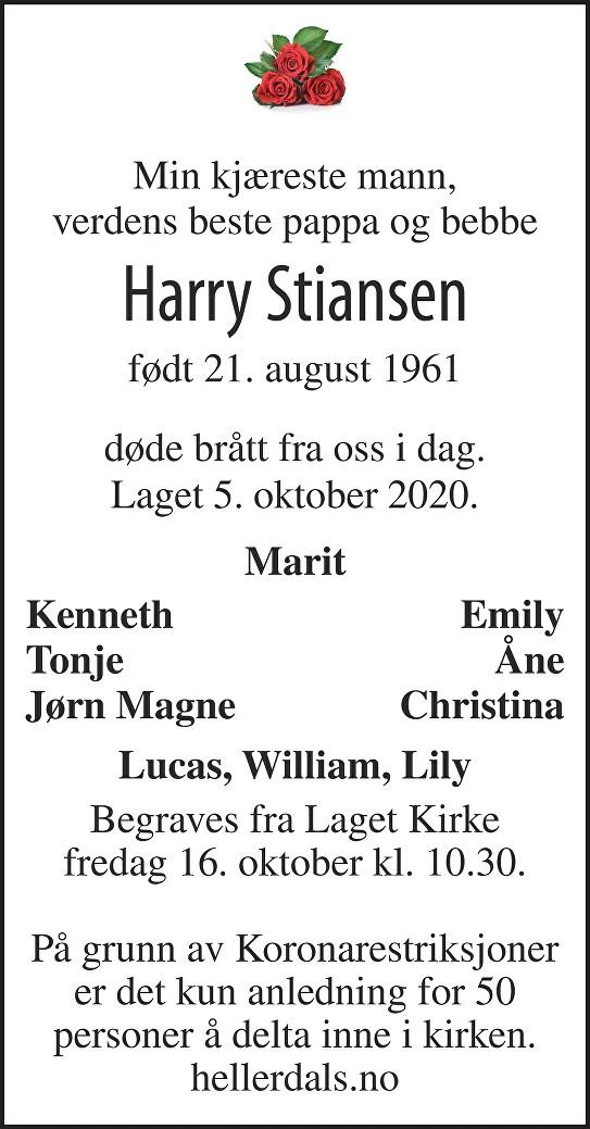 Harry Stiansen Dødsannonse