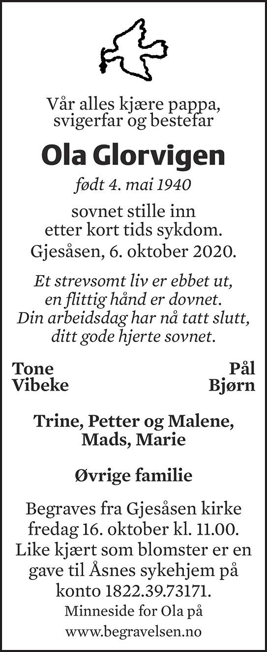 Ola Glorvigen Dødsannonse