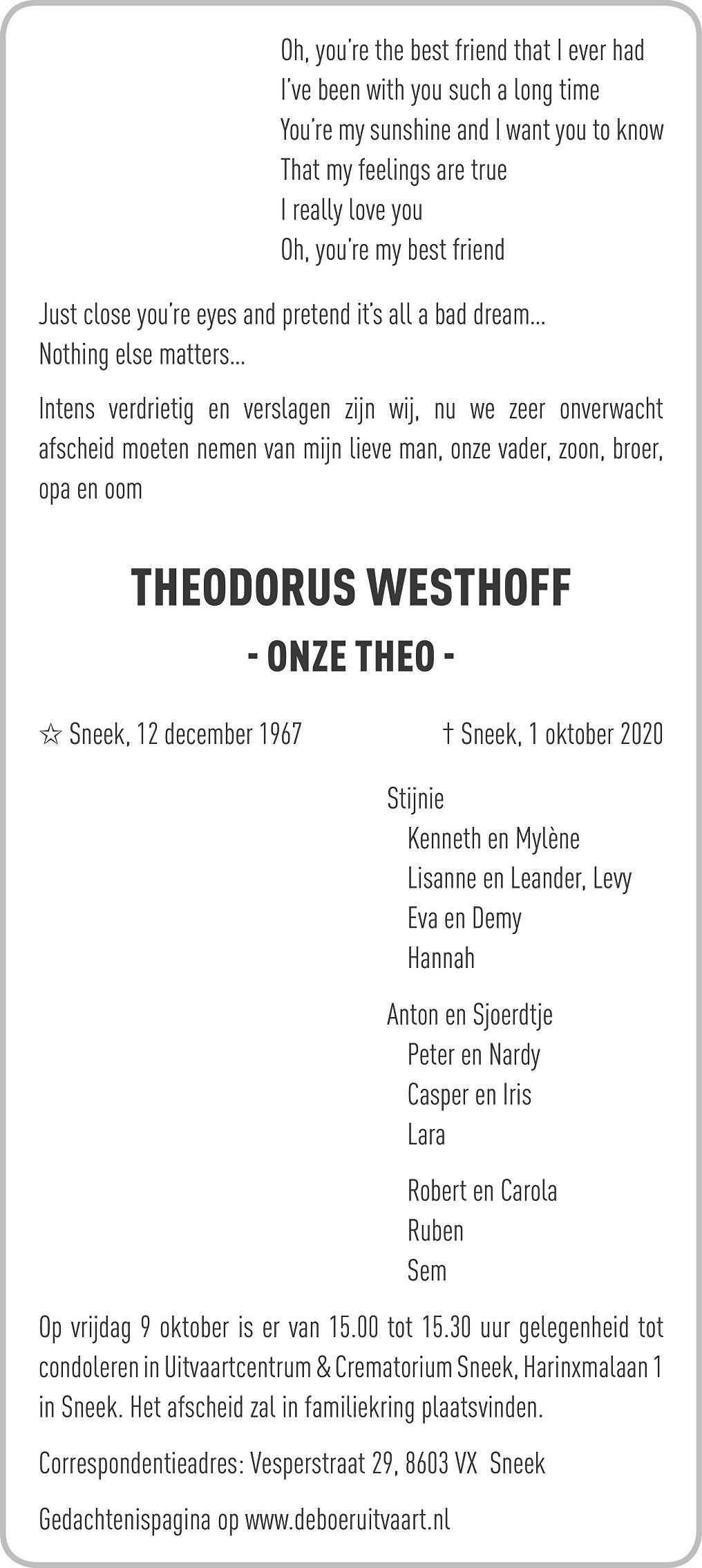 Theodorus Westhoff Death notice