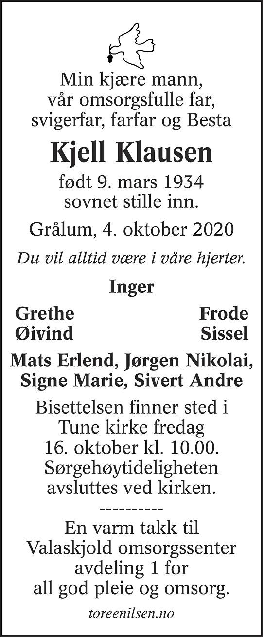 Kjell Klausen Dødsannonse