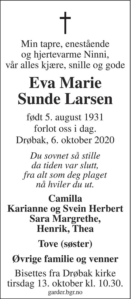 Eva Marie Sunde Larsen Dødsannonse