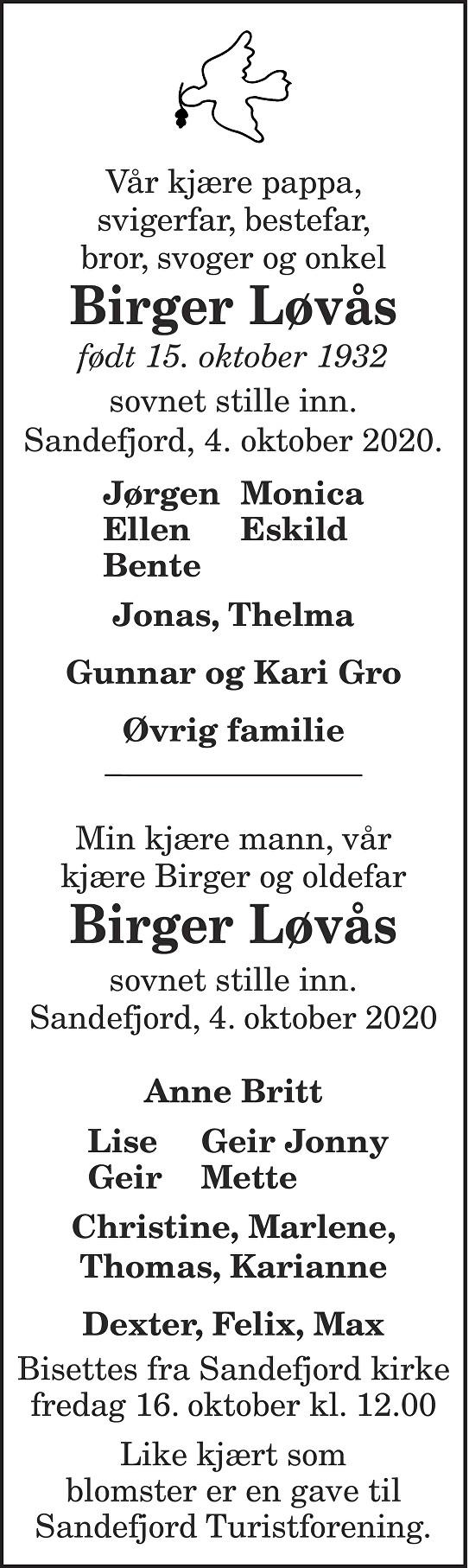 Birger  Løvås Dødsannonse