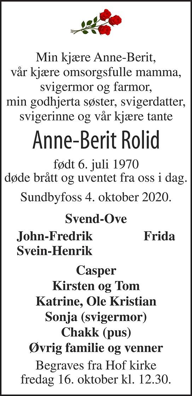Anne-Berit Rolid Dødsannonse