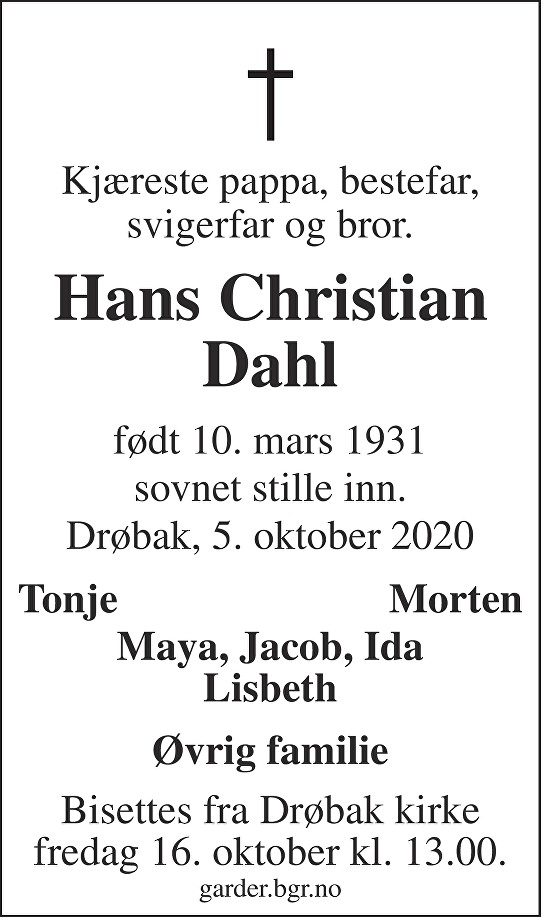 Hans Christian Dahl Dødsannonse