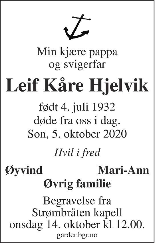 Leif Kåre Hjelvik Dødsannonse