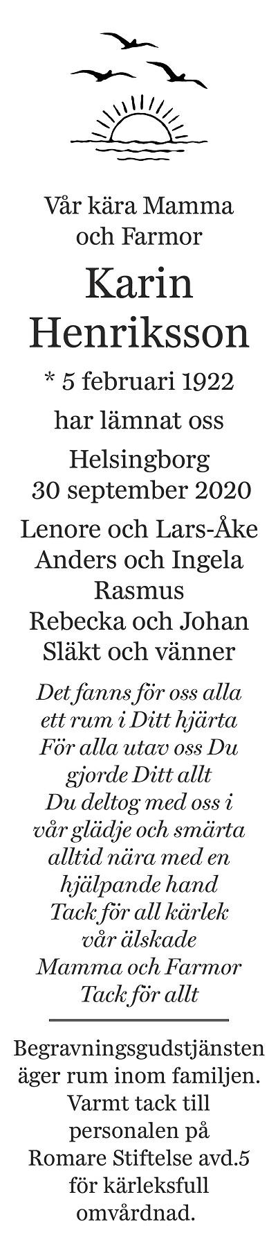 Karin Henriksson Death notice