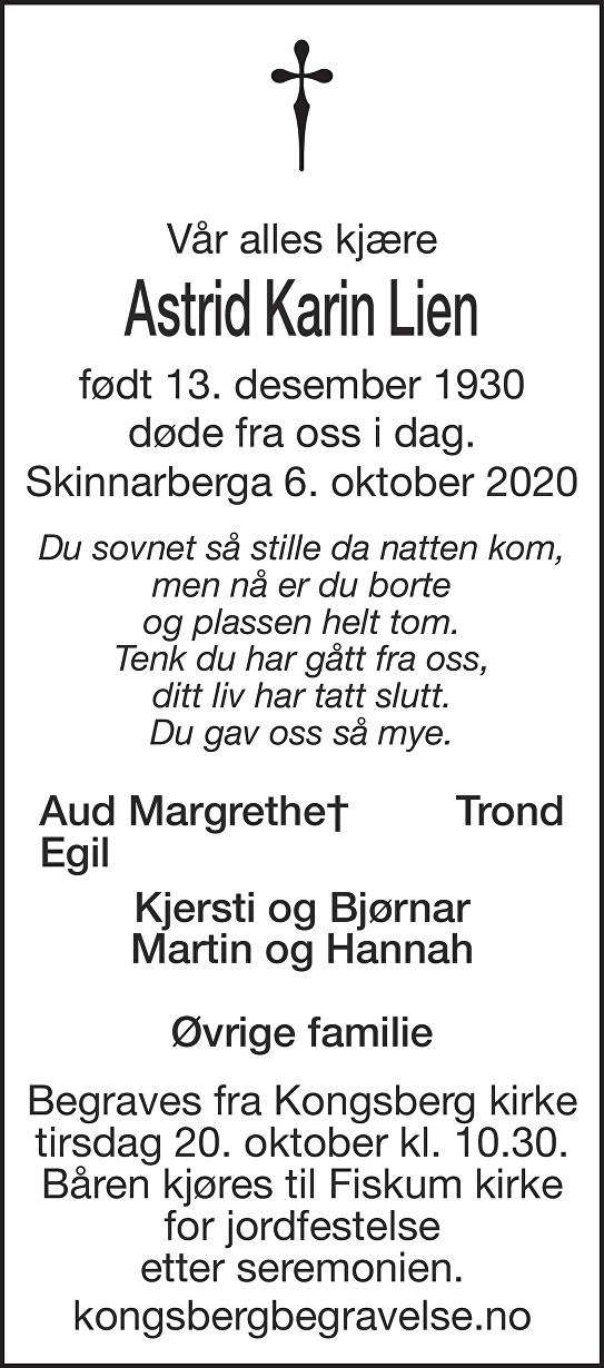 Astrid Karin Lien Dødsannonse