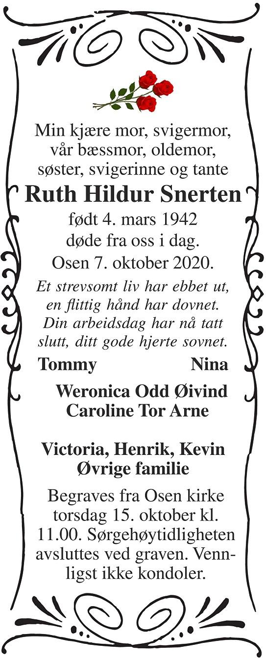 Ruth Hildur Snerten Dødsannonse