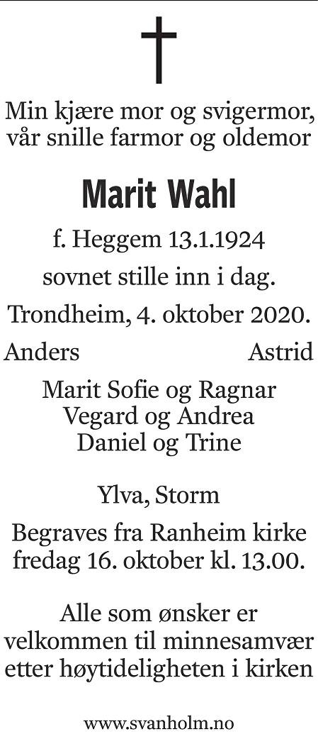 Marit Wahl Dødsannonse