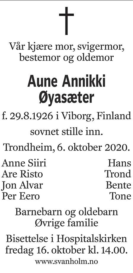 Aune Annikki Øyasæter Dødsannonse