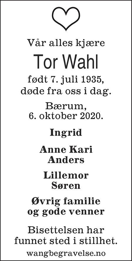 Tor Fridtjof Wahl Dødsannonse