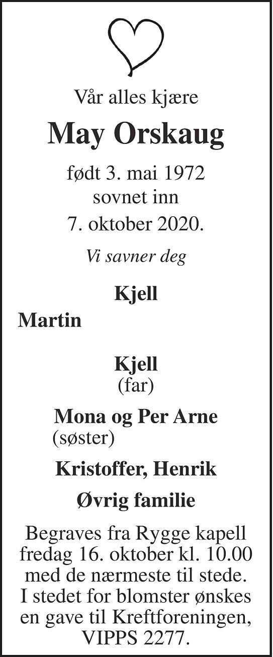 May Orskaug Dødsannonse