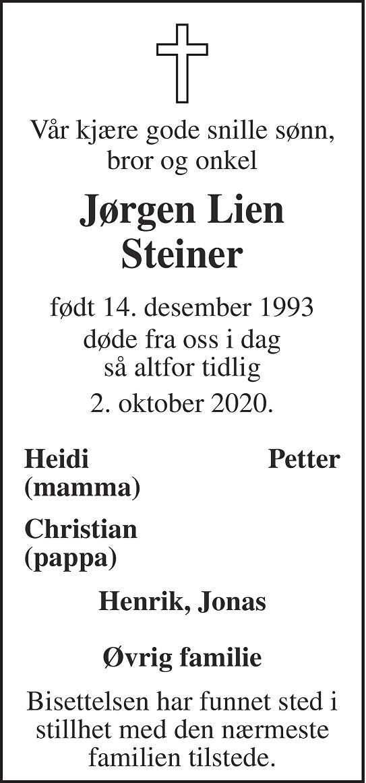 Jørgen Lien Steiner Dødsannonse