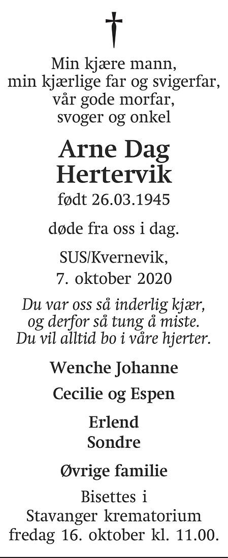Arne Dag Hertervik Dødsannonse