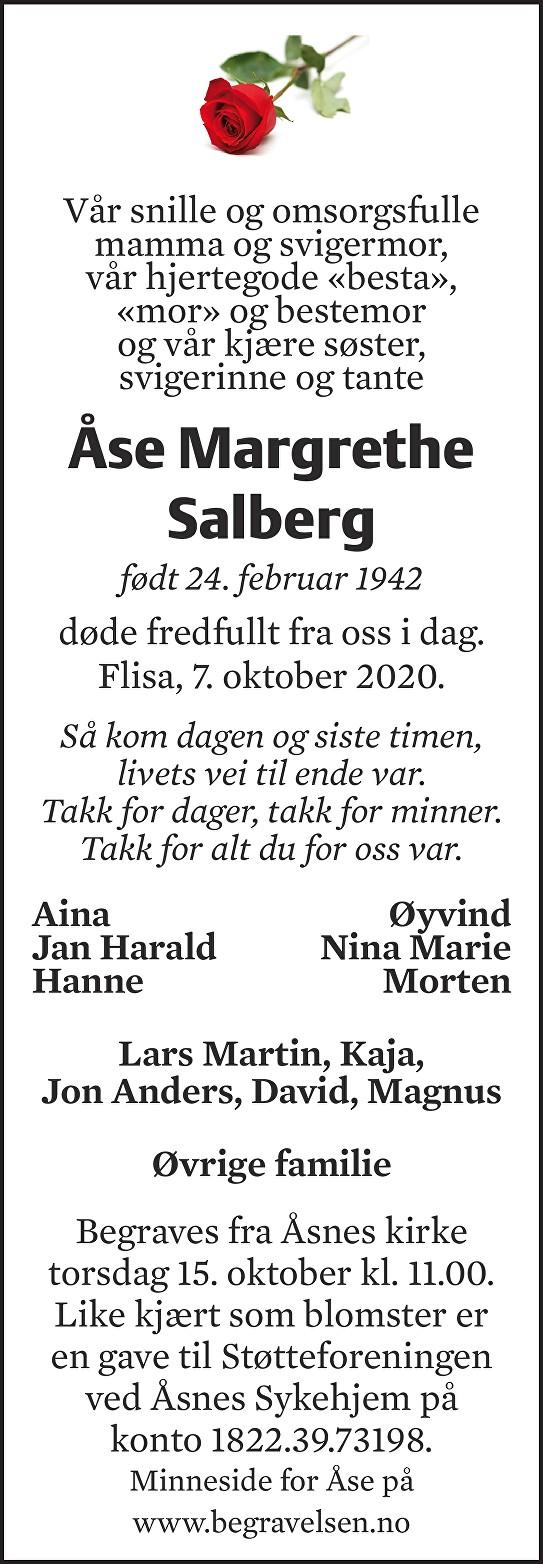 Åse Margrethe Salberg Dødsannonse