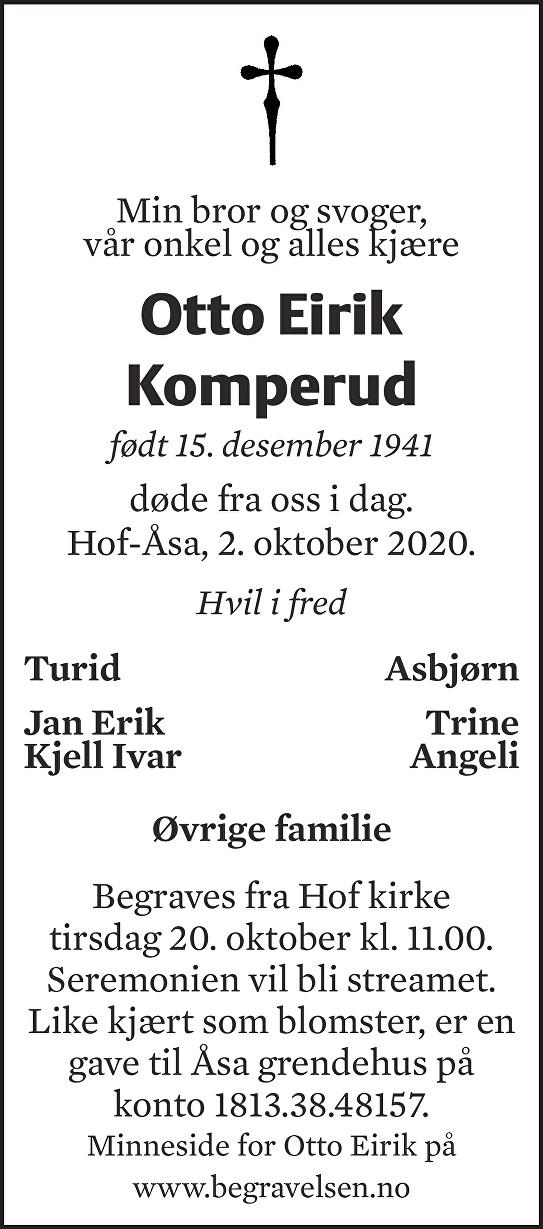 Otto Eirik Komperud Dødsannonse