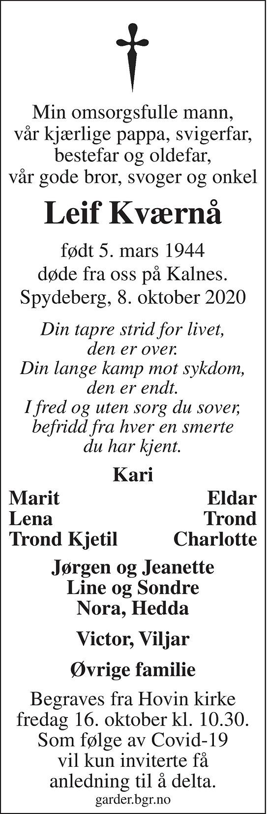 Leif Kværnå Dødsannonse