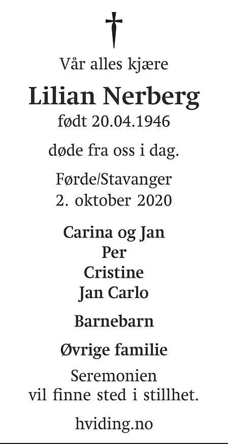Lilian Ingeborg Nerberg Dødsannonse