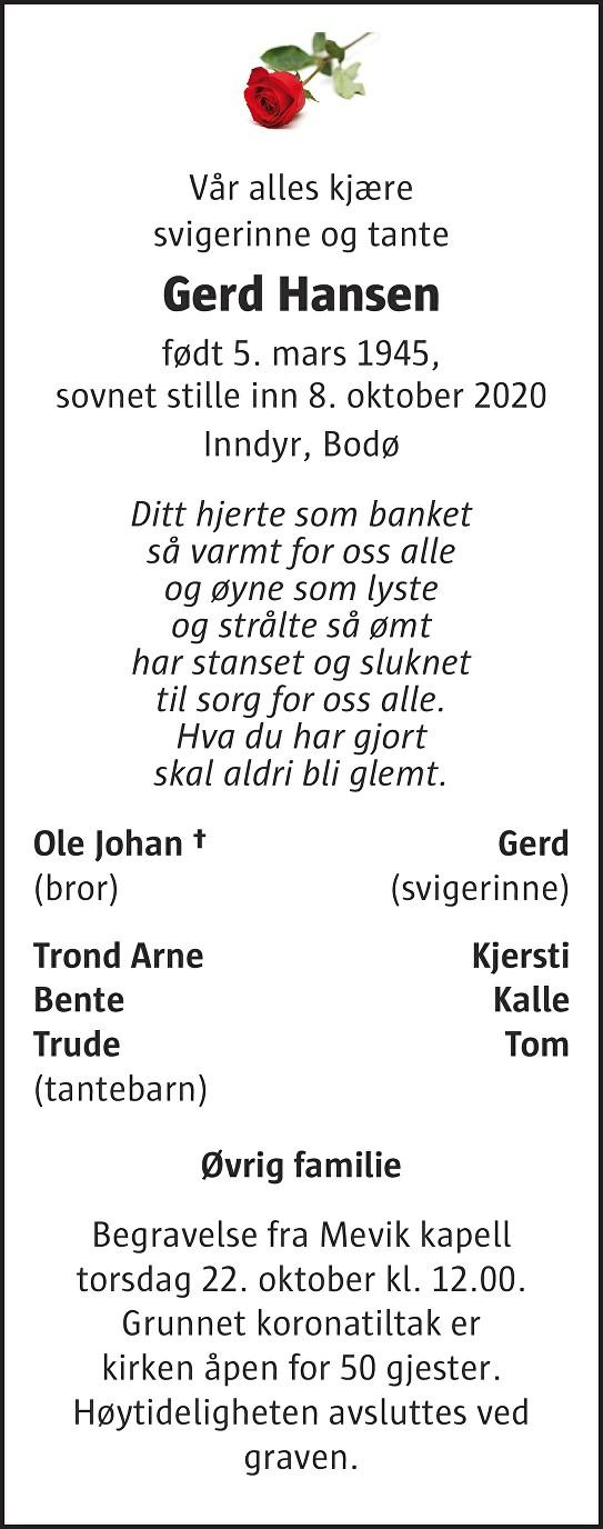 Gerd Hansen Dødsannonse