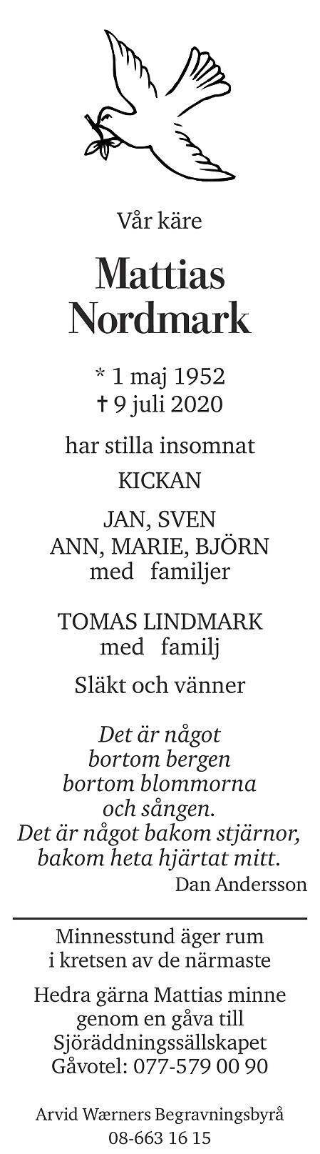 Johan Mattias Nordmark Death notice