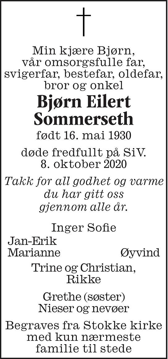 Bjørn Eilert Sommerseth Dødsannonse