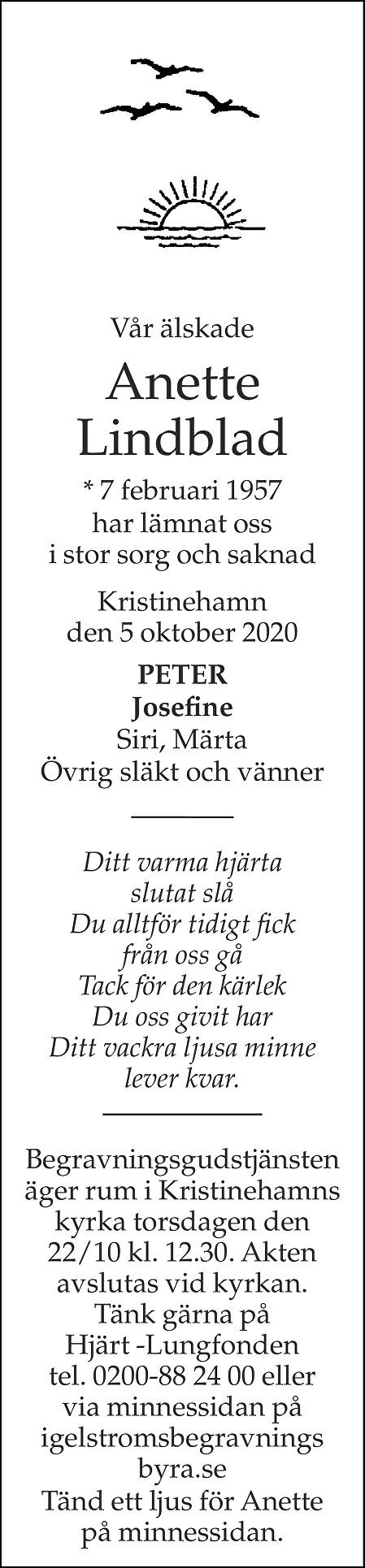 Anette Lindblad Death notice