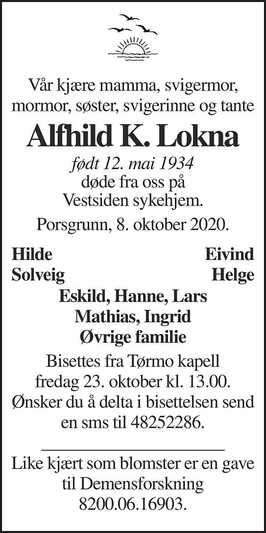 Alfhild Karolina Lokna Dødsannonse
