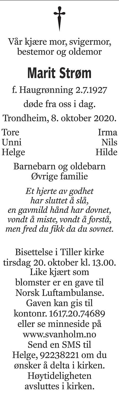 Marit K. Strøm Dødsannonse