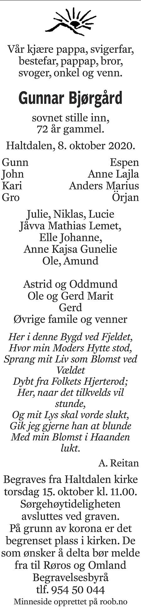 Gunnar Bjørgård Dødsannonse