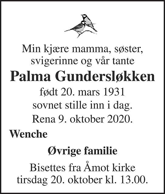 Palma Gundersløkken Dødsannonse