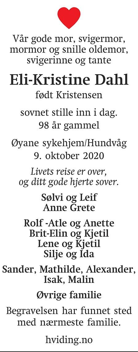 Eli-Kristine Dahl Dødsannonse