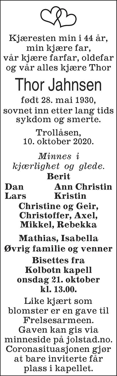 Thor Jahnsen Dødsannonse