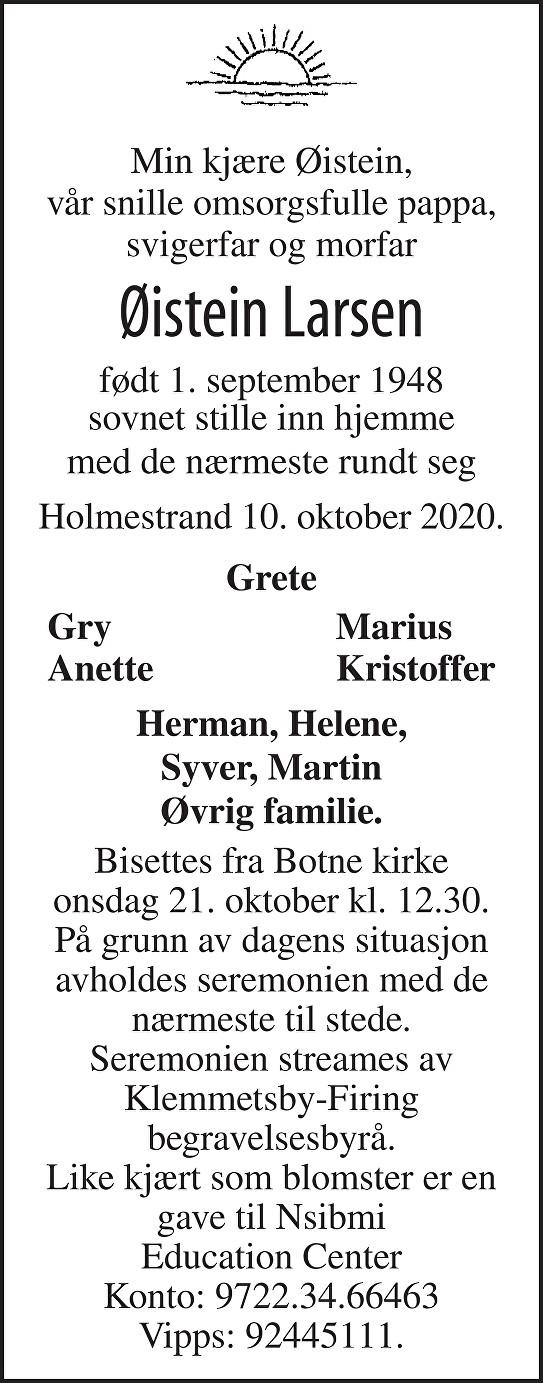 Øistein Larsen Dødsannonse