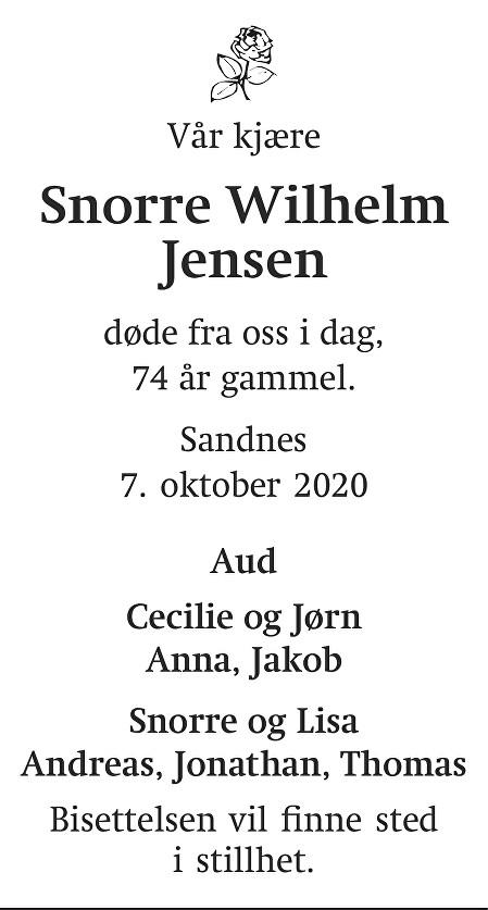 Snorre Wilhelm Jensen Dødsannonse